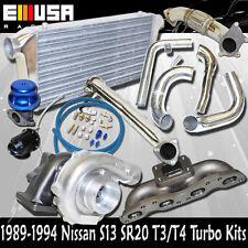 S13 SR20 Cast MANIFOLD+ Elbow+ Downpipe+Itnercooler Kit T3/T4 Bolt On Turbo Kits
