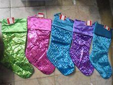 "20"" Christmas Stocking Satin Geometric Shaped Stocking Blue Green Purple Pink"