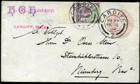 Uprated Stationery Advert 1d Pink Envelope Cardiff - Nuernberg