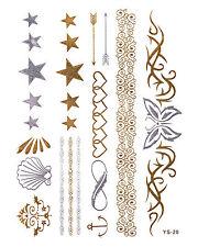 Silber Gold Flash Tattoos Fake Klebe Tattoo Armbänder Sterne Tribals YS-20