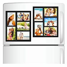 2 PACK MAGNETIC COLLAGE BLACK FRAME FOR REFRIGERATOR HOLDS 5 PHOTOS