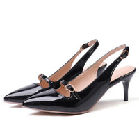 Women's Slingbacks Closed Pointed Toe Med Heels Wedding Party Dress Pumps Shoes