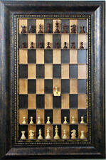 """Straight Up Chess Board - Black Cherry Board with a 4 1/4"""" wide Antique Bronze f"""