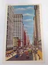 State Street Chicago Vintage Linen Color Postcard Posted 1940s