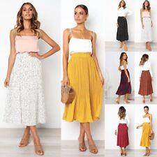 Pretty 50s Retro Swing Print Skirt Ladies High Waist A-Line Midi Skater Skirts