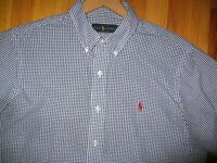 Polo Ralph Lauren Men's sz LARGE Blue check plaid Short Sleeve Button Down shirt