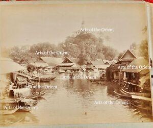 2 ANTIQUE ORIGINAL PHOTO THAI THAILAND RAMA V BANGKOK CITY ALBUMEN SIAM WAT 1900