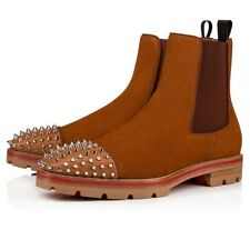 Christian Louboutin Mens Melon Spikes Flat Coconut Suede High Chelsea Boot 42.5