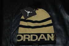 NEW Boy's Nike Air Jordan Gold Metallic & Black Jumpman Skull Beanie Hat