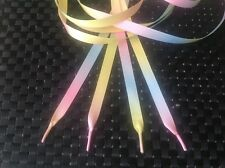 Double sided Pastel RAINBOW satin ribbon laces,Trainers,Shoes,Boots-10mm  & 15mm