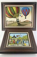 Vintage H HARGROVE Paintings Hot Air Balloon SERIGRAPH Canvas in ORG Wood Frames