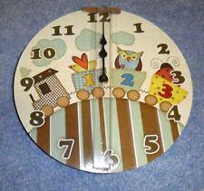 Choo Choo Caboose Child Nursery Owl Clouds Wall Clock