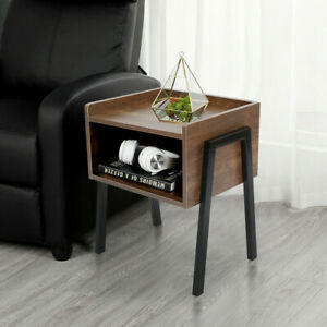 Wood Grain Lamp Side Table Shelf Storage Occasional End Table Bedside Table