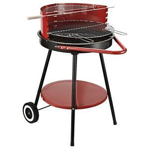 Barbecue a Carbone Carbonella con Ruote Nero e Rosso 67x51x82 cm Miozzi