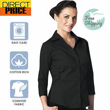 Ladies Shirt Blouse 3/4 Short Sleeve Stretch Fitted Business Office Wear-Black