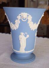 "Vintage Wedgwood Jasperware Blue & White Pedestal Vase, 6"""