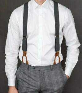 Grey Suspenders for Men, Leather Clip on/Button Suspenders for Groomsmen