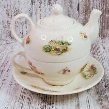 Aynsley Edwardian Kitchen Garden Teapot For One Fine Bone China England Complete