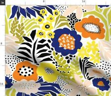 Flower Collage Pink Black White Blue Yellow Spoonflower Fabric by the Yard