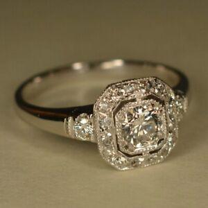 Women 925 Silver Luxury Wedding Cubic Zirconia Party Rings Jewelry Size 6-10