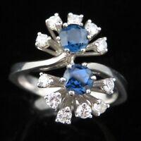Estate Sapphire Diamond Ring 18k & 14k White Gold Floral Vintage Estate Floral