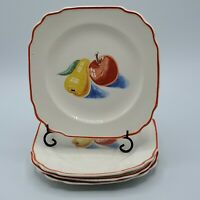 "SET OF 4 HARKER POTTERY BAKERITE RED APPLE & PEAR SQUARE SCALLOPED 6 3/4"""" PLATE"