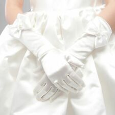 Girls Elastic Formal Etiquette Gloves Flower Satin Bow Pearl Long Lace Bow Glove