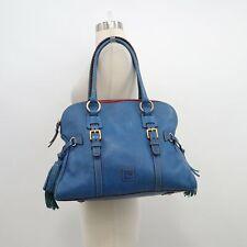 Dooney & Bourke Satchel Florentine Domed Purse Leather Denim Blue Tassels RARE