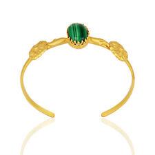 Malachite Gemstone 18k Gold Plated Silver Wedding Cuff Bracelet Jewelry