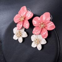 Creative Women Geometric Flowers Earring Crystal Drop Dangle Stud Jewelry Gift