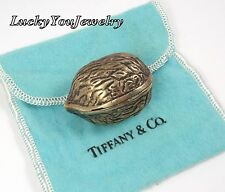 RARE Vintage Tiffany & Co Sterling Silver Vermeil Walnut Trinket Pill Box ITALY