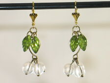 Art Deco Vintage Style Clear Rock Crystal Raindrops & Glass Leaves Earrings
