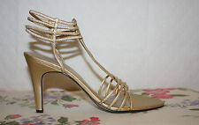 *NEW* CARRIAGE COURT WOMEN'S 9.5m GOLD STRAPPY HEEL SHOES