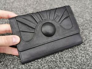 DENTS Ladies Leather Purse Money Notes Credit Card Coin ID Photo Window Black