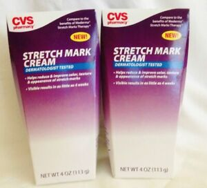 2 Pk CVS STRETCH MARK CREAM - 4 OZ REDUCES APPEARANCE, TEXTURE & IMPROVES COLOR