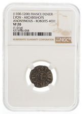 FRANCE. Archbishops of Lyon, 1100-1200, Silver Denier, Roberts 4031, NGC VF20