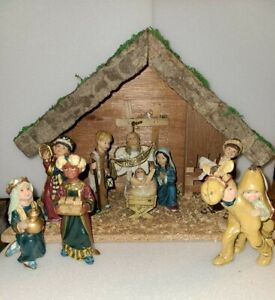 Wooden Nativity Scene With 9 Children Characters