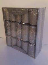 10 Luxury Silver Glitter Merry Christmas Crackers: Premium Gifts:Joke, Party Hat