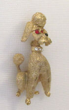 VINTAGE 1960s MAMSELLE SIGNED POODLE BROOCH PIN GOLDEN RUBY RED EYES RHINESTONE