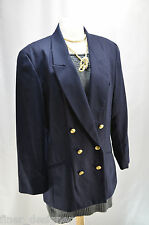 JH Collectibles suit JACKET VTG BLAZER NAvy double breasted 100% wool SIZE 12 L