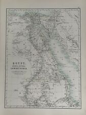 1897 EGYPT & NUBIA ORIGINAL ANTIQUE MAP A & C BLACK 123 YEARS OLD