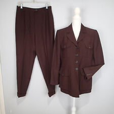 RALPH LAUREN 2-PC Pant Suit Brown Wool bl Suit Blazer Career Size 12 jacket