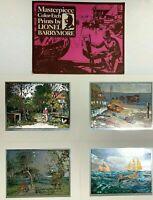 "Vtg Lionel Barrymore Masterpiece Color Foil Etched Prints Set of Four 10""x8"""
