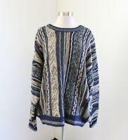 Vtg 90s Tan Blue Green 3D Knit Crewneck Sweater L Biggie Coogie Wool Alpaca