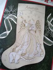 Dimensions Crewel Stitchery Christmas Holiday Stocking KIT,IVORY ANGEL,8087,NIP