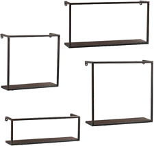 NEW Zyther Metal Wall Shelves 4 pc Set Antique Black Finish Comtemporary Style