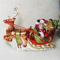 Santa on Sleigh w/ Reindeer Blown Glass Christmas Tree Ornament