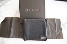 GREAT $500!! Gucci Leather Wallet black pebbled Metal Bar GG 100% Authentic!