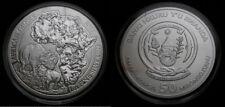 2012 Rwanda 1 oz Fine Silver 999 Banki Nkuru Y'u Rwanda 50 Francs UNC Rhino