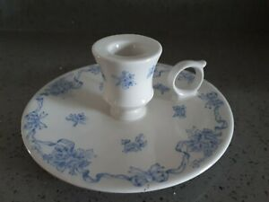 Vintage Laura Ashley Blue RIBBONS Ceramic Candle Holder